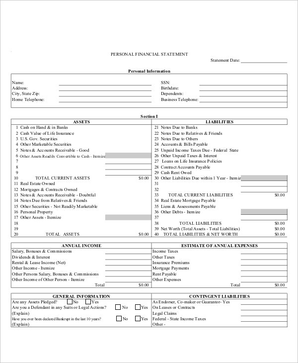 Personal Income Statement Template  Personal Profit And Loss Statement Template Free