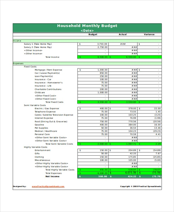 Excel Monthly Budget Template   Free Excel Document Downloads