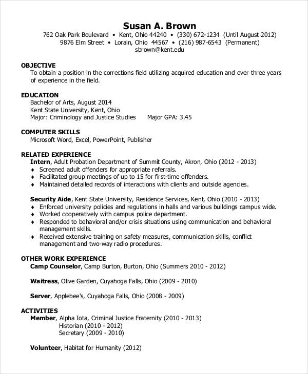 sample resume cover letter - Criminal Justice Cover Letter