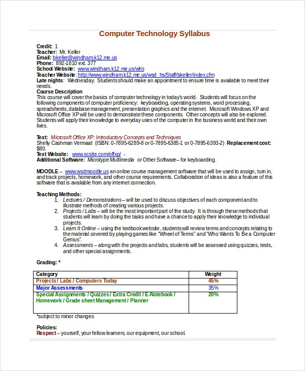 Syllabus Template   Free Word Documents Download  Free  Premium
