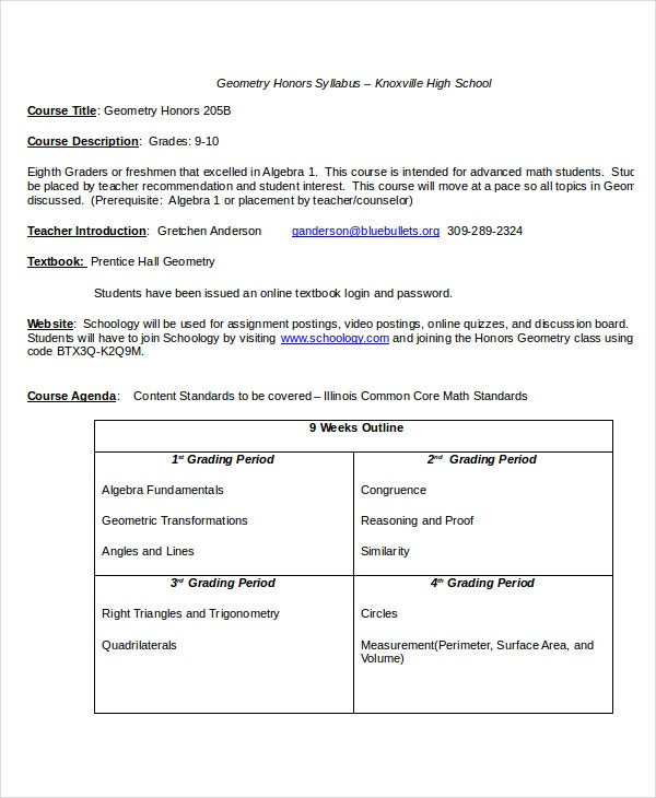 High School Syllabus Template