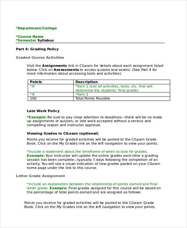 Syllabus Template 7 Free Word Documents Download Free