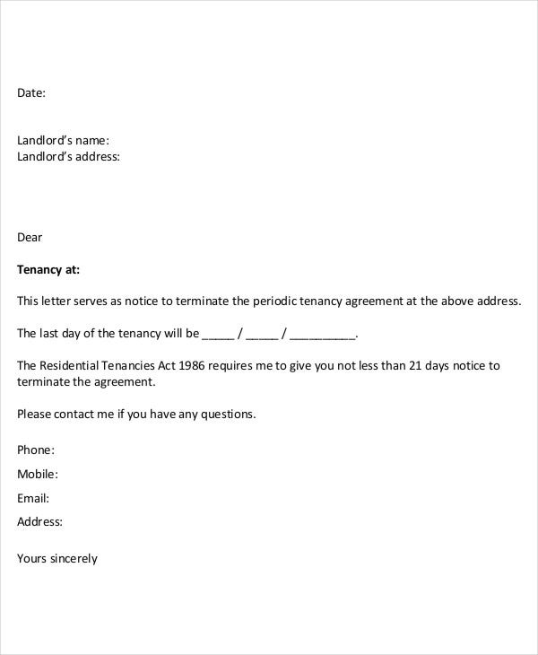 Apartment Contract Termination Letter
