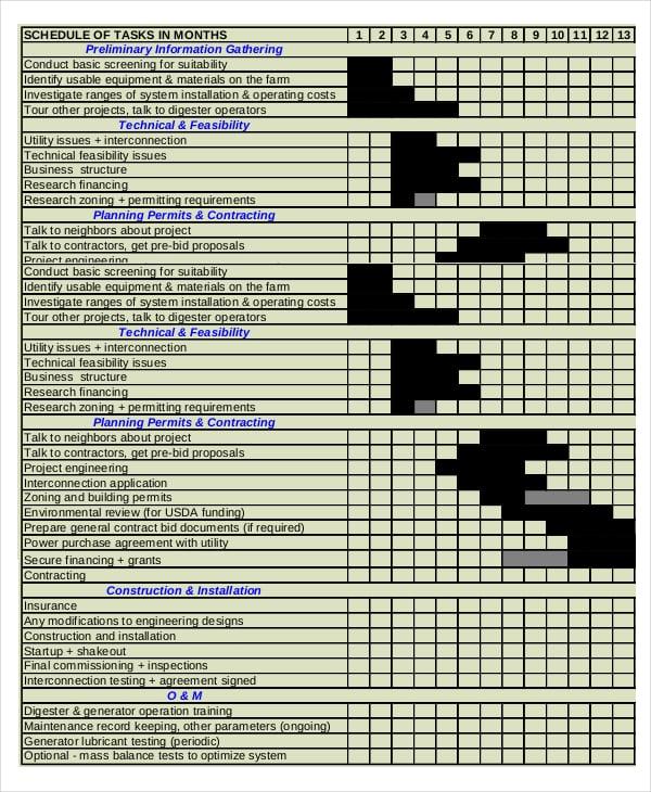 Digester Development Gantt Chart