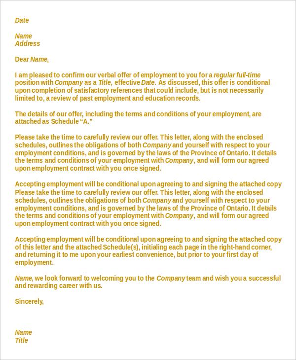 Employement Letter Format