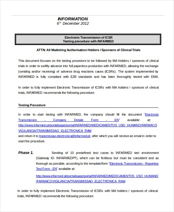 Procedure template 8 free word documents download for Testing procedures template