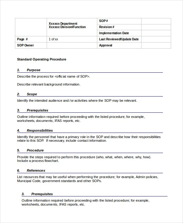 standard operating procedure template word