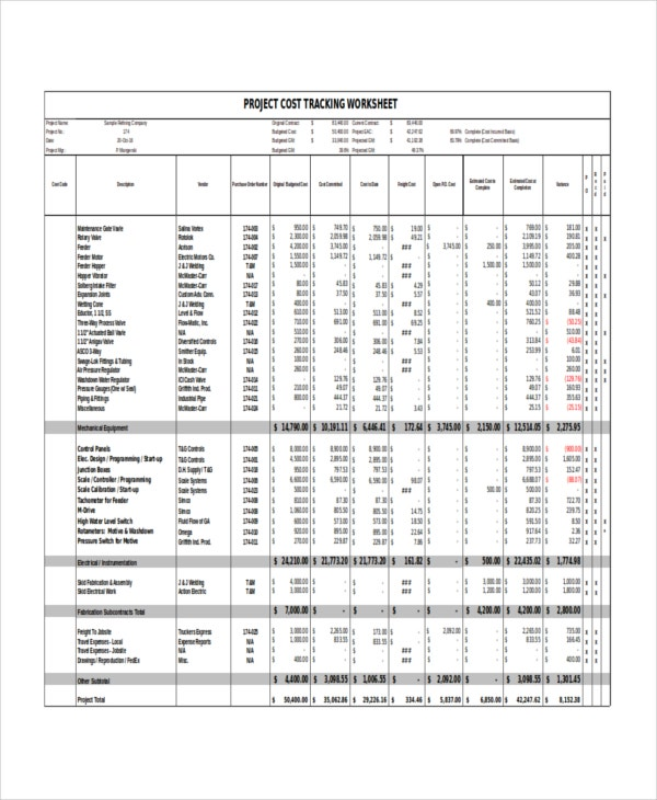 project cost tracking report template