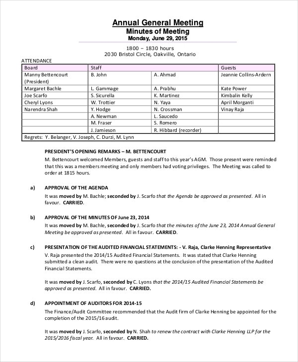 annual meeting minutes template 10 free word pdf document