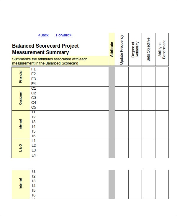 excel scorecard template 6 free excel documents