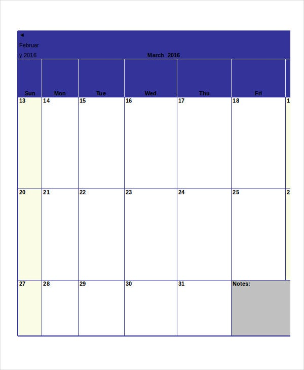 Monthly Calendar   Free Word Pdf Documents Download  Free