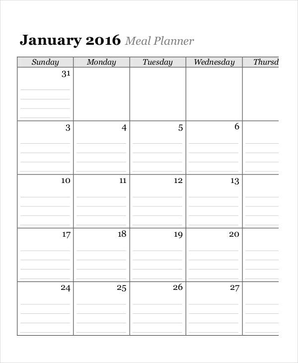 Monthly Meal Planner Calendar Template