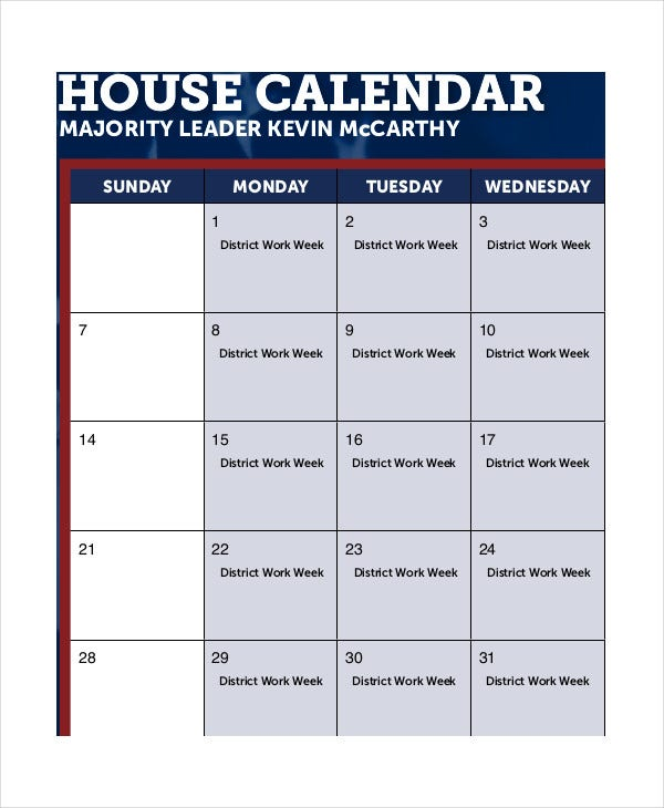Monthly House Calendar Template