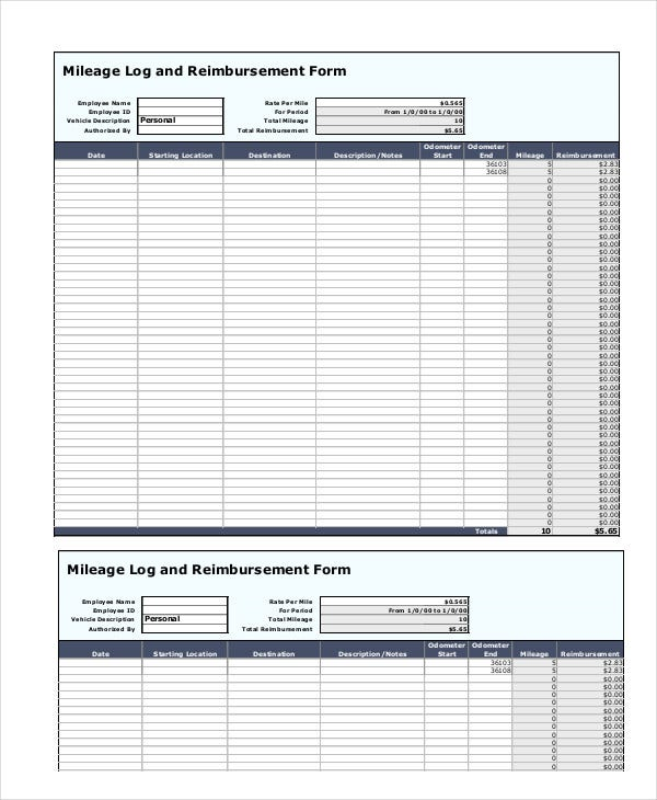 Mileage Reimbursement Form - 9+ Free Sample, Example, Format | Free