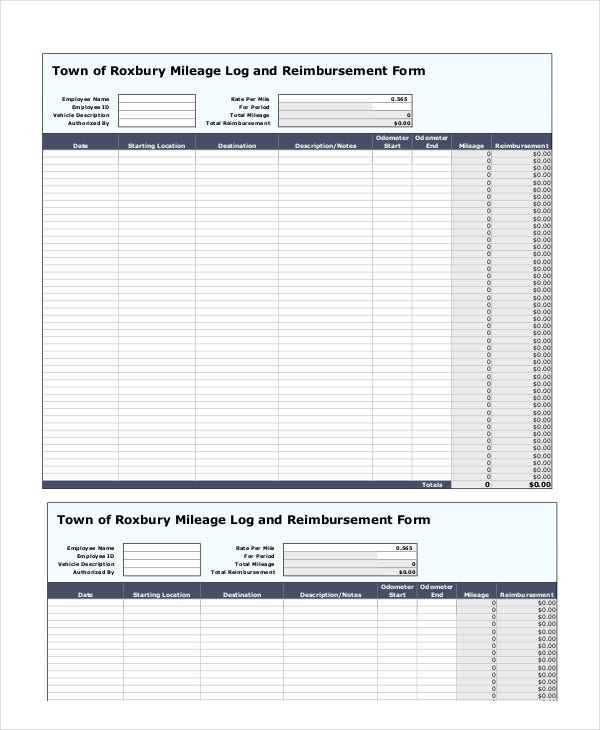 Mileage Reimbursement Form   Free Sample Example Format