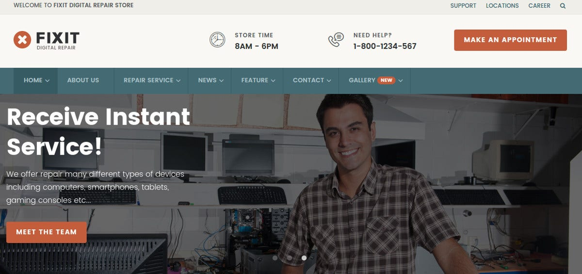 Computer Repair Shop HTML Website Template $17