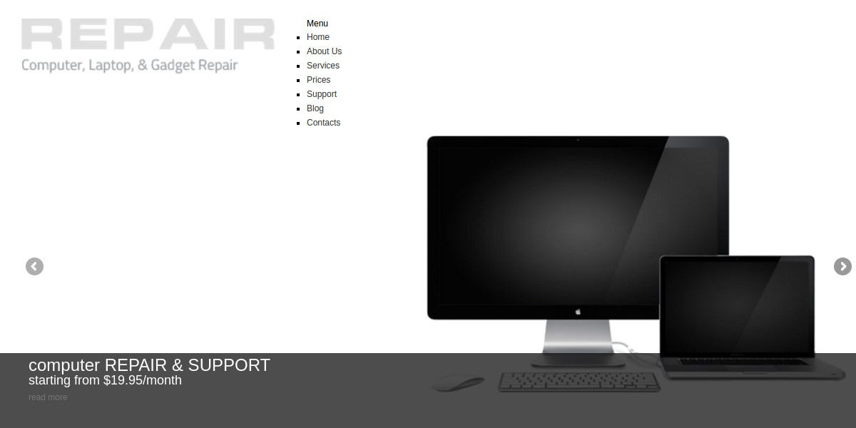 Computer Repair WordPress Website Theme $52