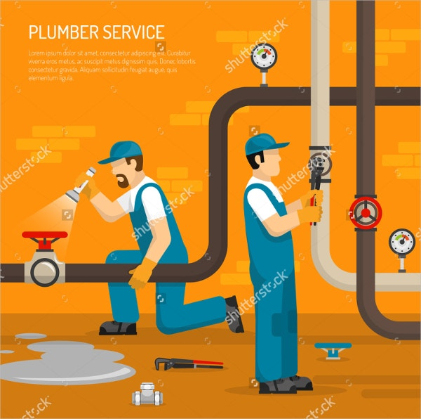 Vector Plumber Service Flyer Template