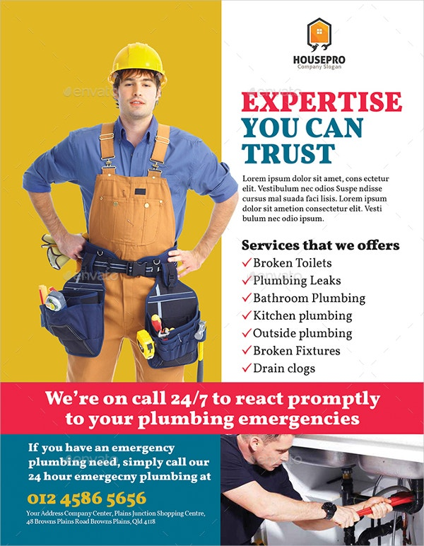 20 Plumber Flyers Word Psd Publisher Free