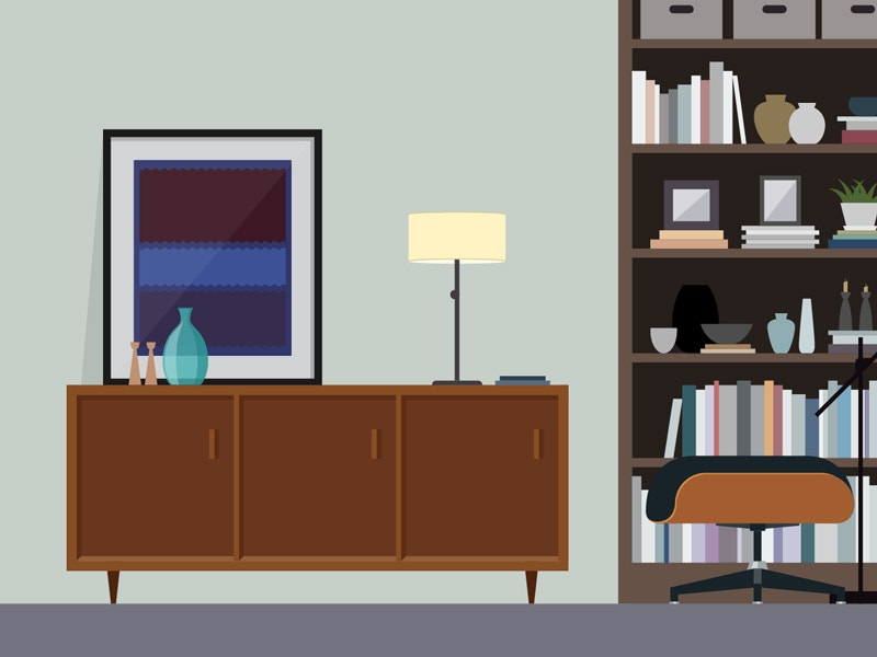 study dribbble interior design
