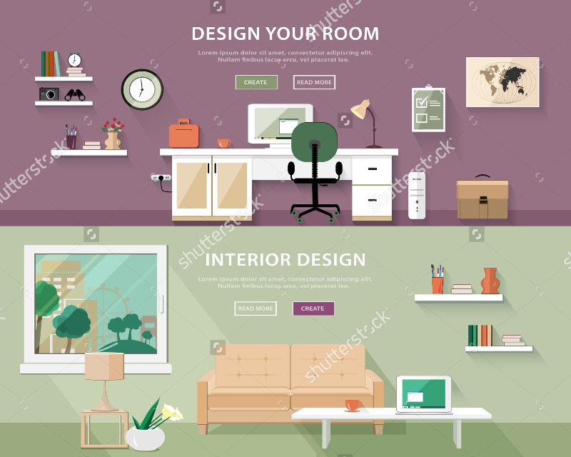 flat style concept set of interior design