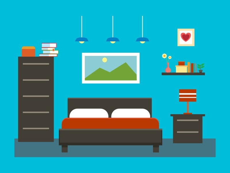 flat bedroom interior vector illustration