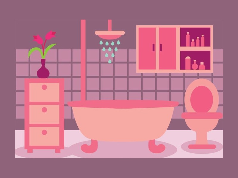 Flat Design Bathroom Vector