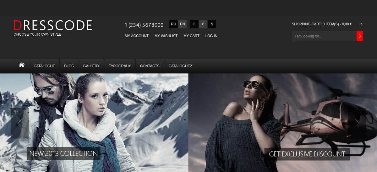 Fashion Clothes Joomla VirtueMart Theme $53