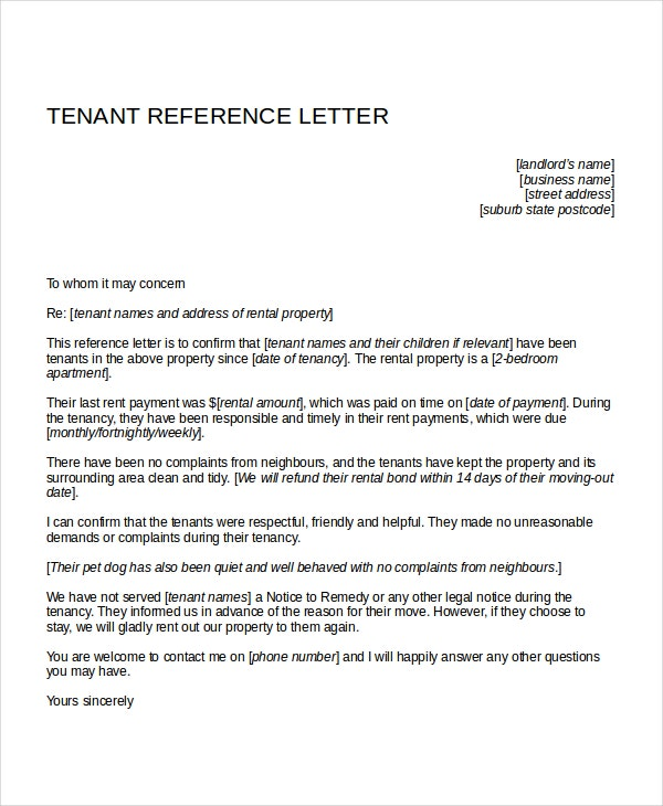 Tenant Reference Letter for Apartment