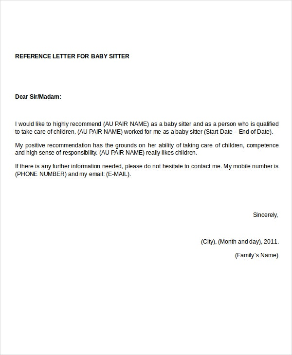reference letter for babysitter