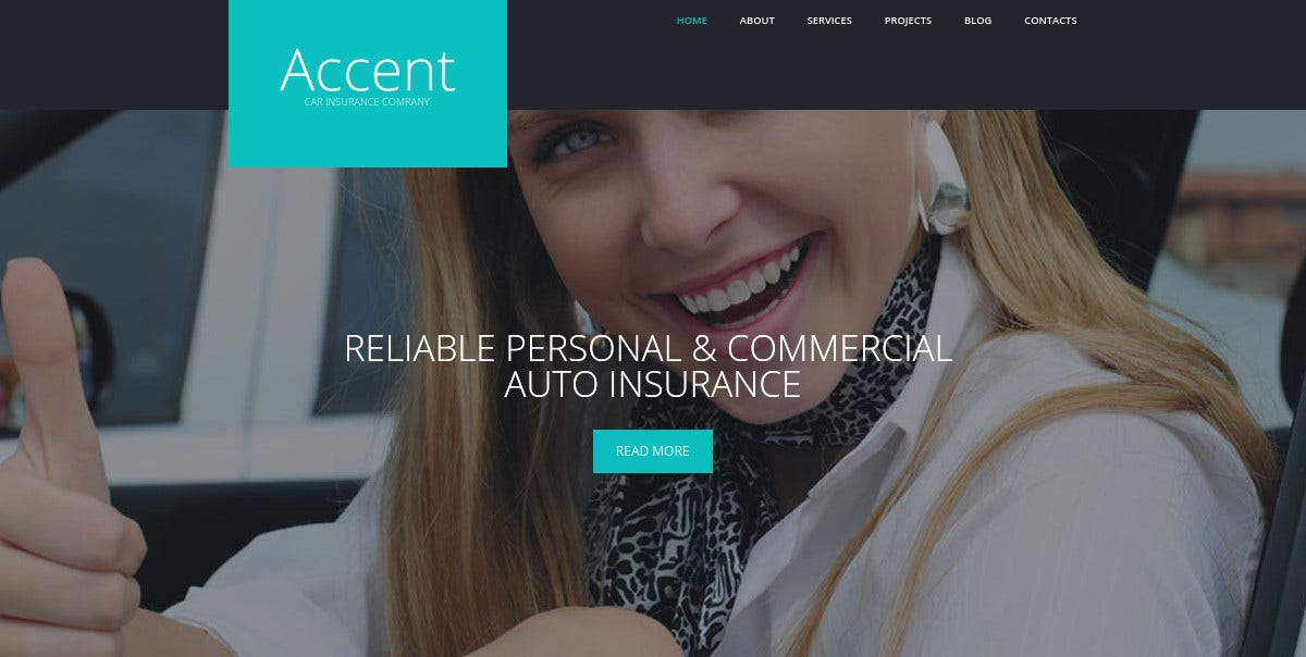 Insurance Responsive WordPress Website Theme $75
