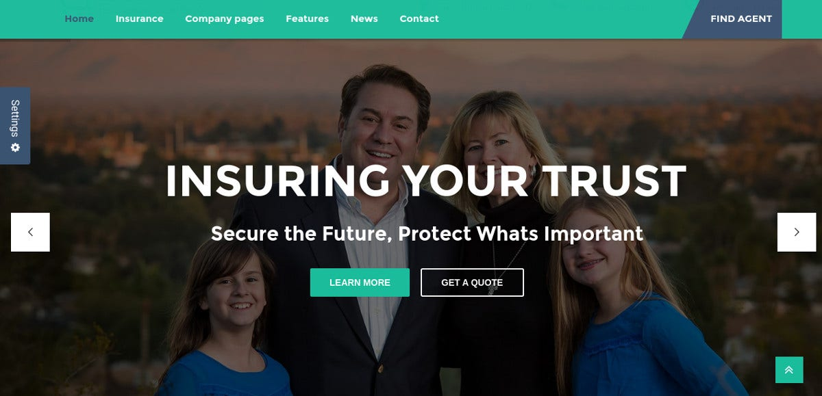 Insurance Agency WordPress Website Theme $49