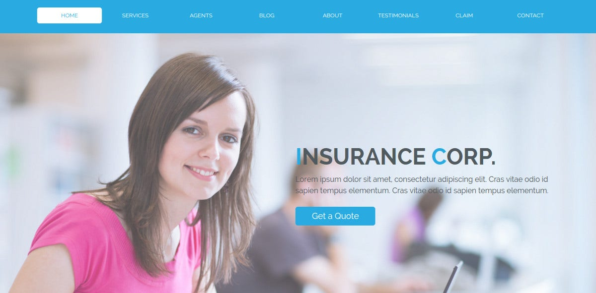 Insurance Corporation Website Template $15