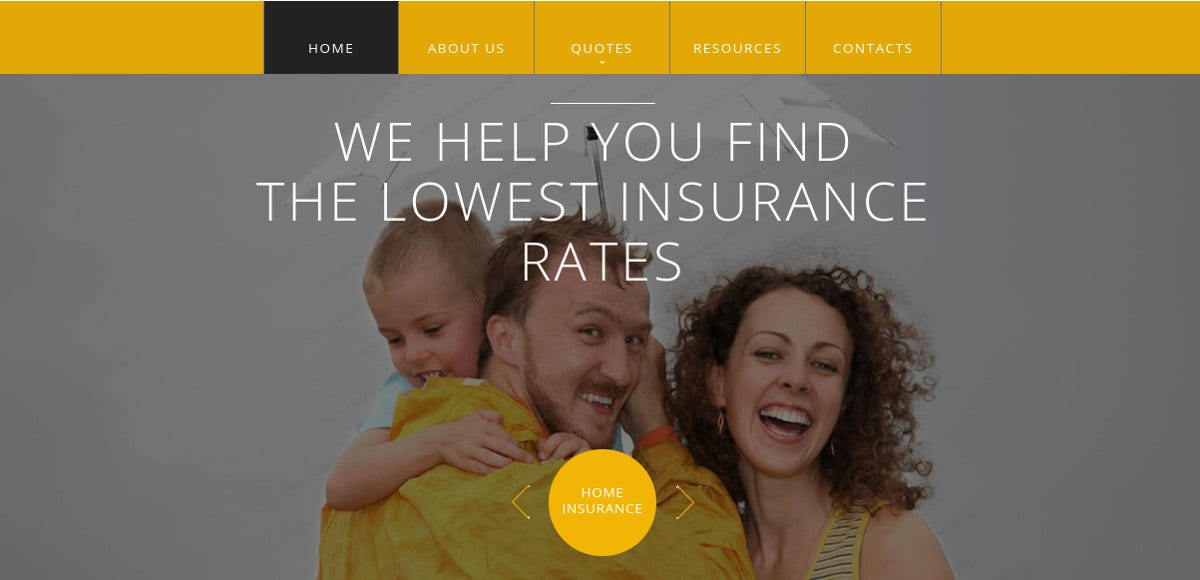 Insurance Responsive HTML Website Template $75