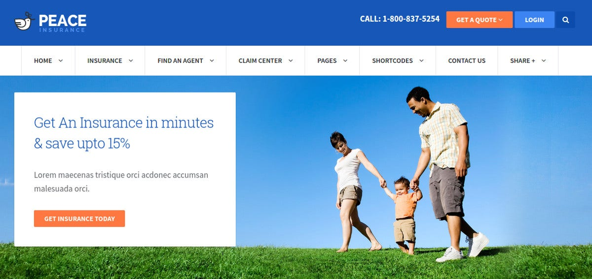 Insurance Agency WordPress Website Theme 449