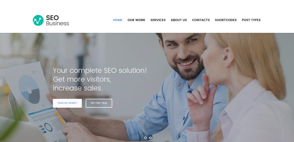 SEO Services, Social Media & Marketing WordPress Website Theme $49