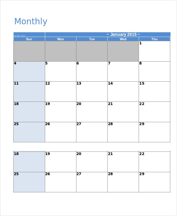 Blank Calendar Template   Free Word Excel Pdf Documents
