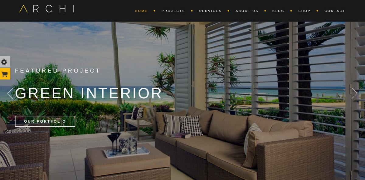 Interior Design One Page WordPress Website Theme $59