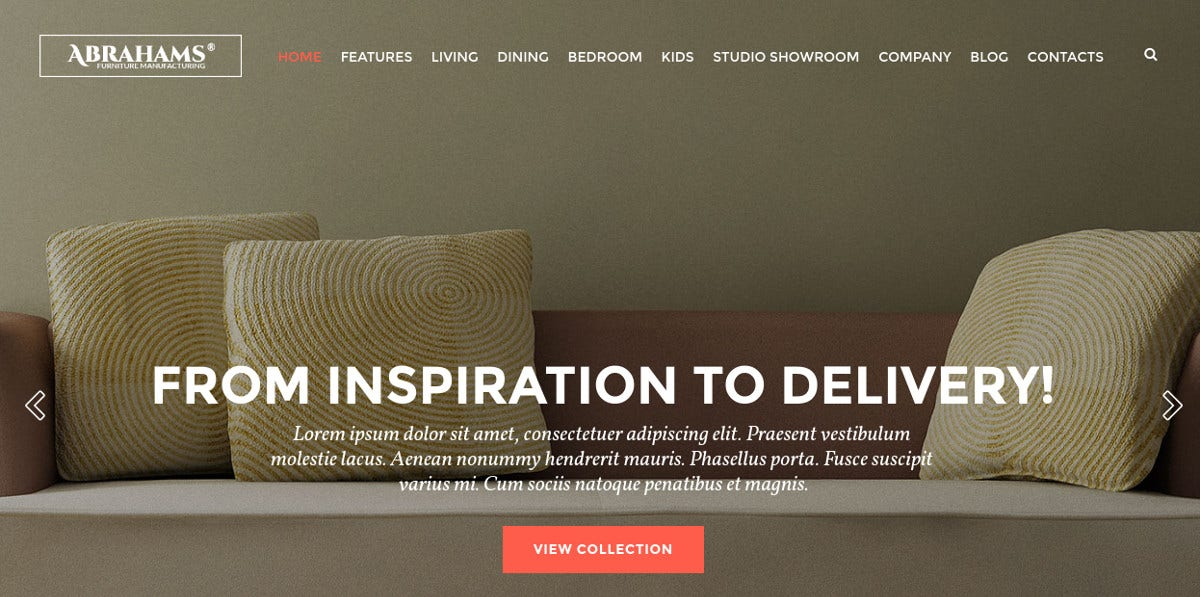 Furniture Showroom & Interior Design Website Theme $59