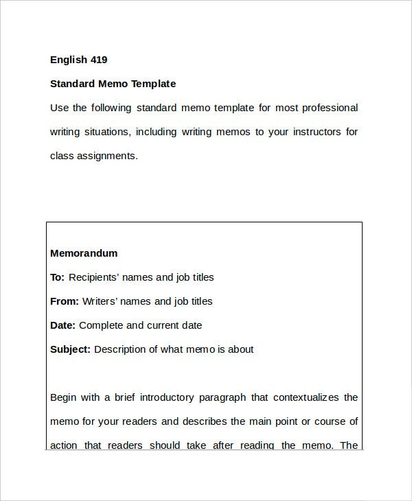 Memo Format   Free Word Pdf Documents Download  Free