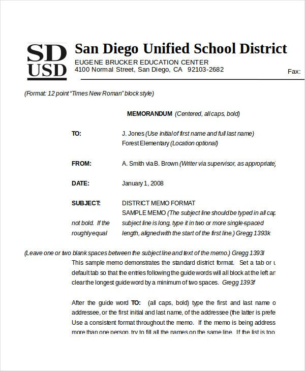 district memo format