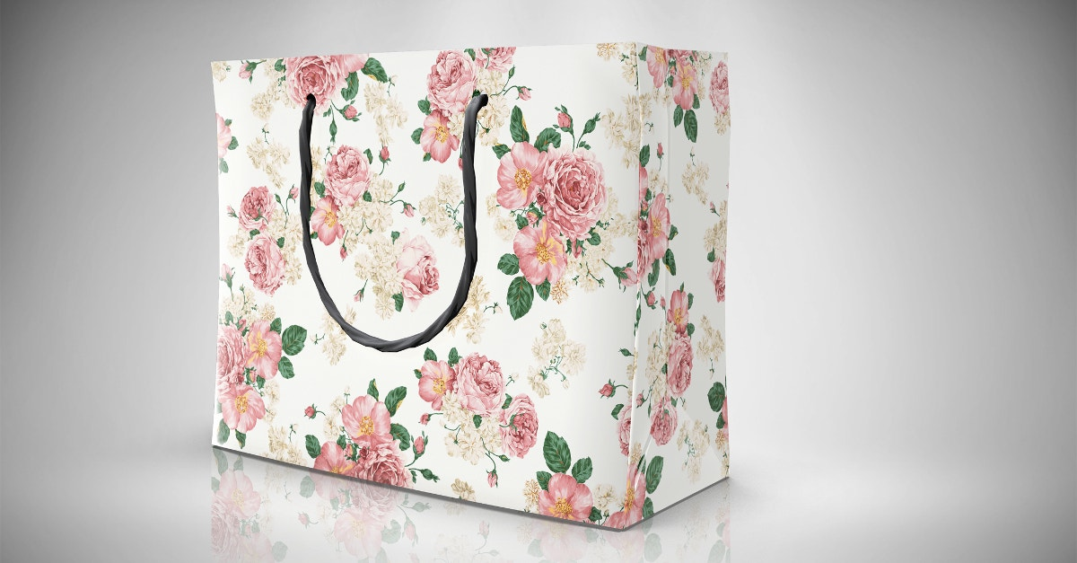 Paper Bag Mockup With Flower Design