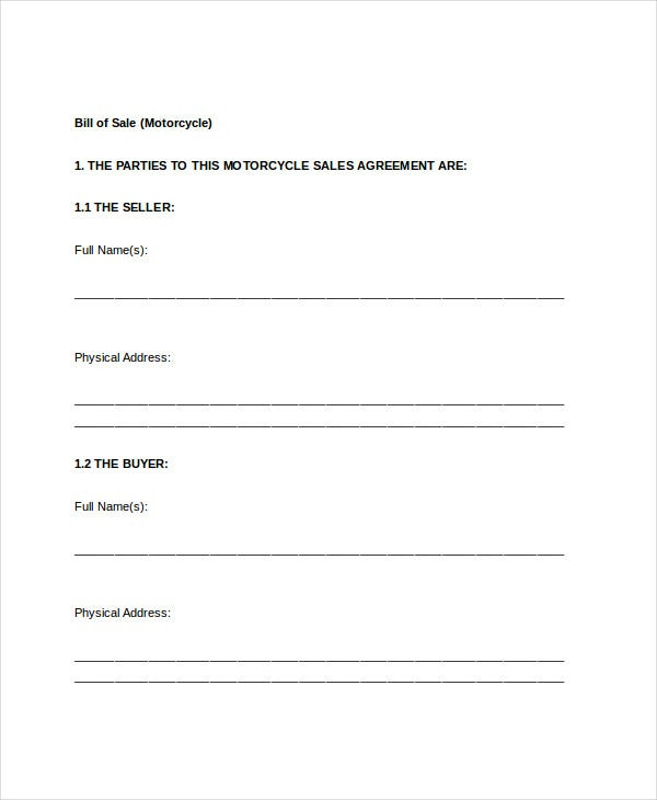 Bill Of Sale Form   Free Word Pdf Documents Download  Free