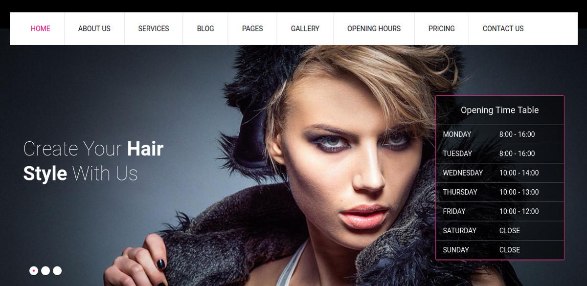 Responsive Hair Salon WordPress Website Theme $48