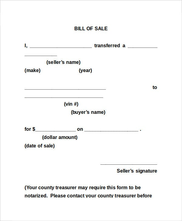 Bill Of Sale Form 13 Free Word PDF Documents Download – Bill of Sales Forms