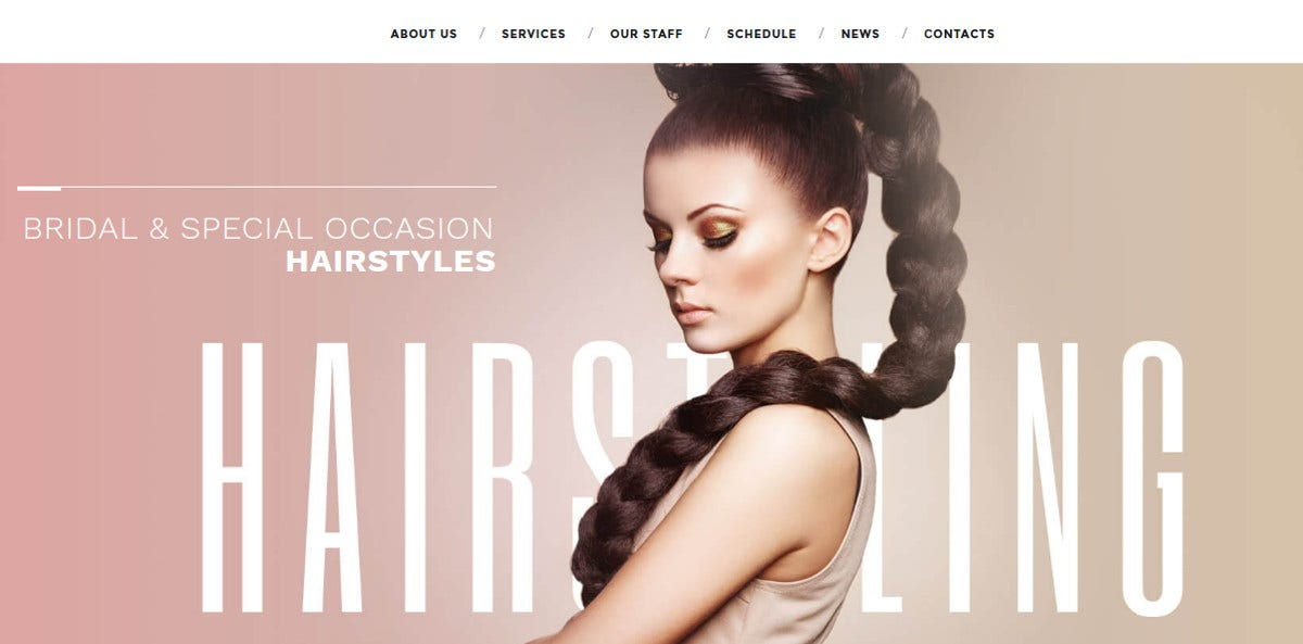 Hair Salon WordPress Website Theme $75