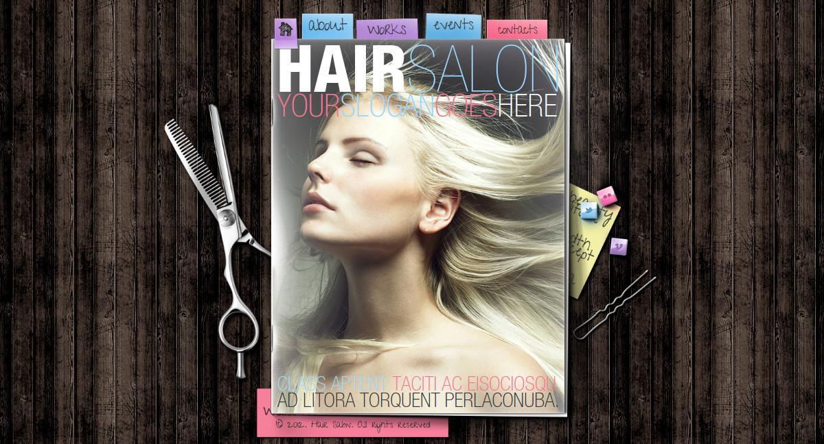 Hair Salon HTML Flip Book Website Template $35