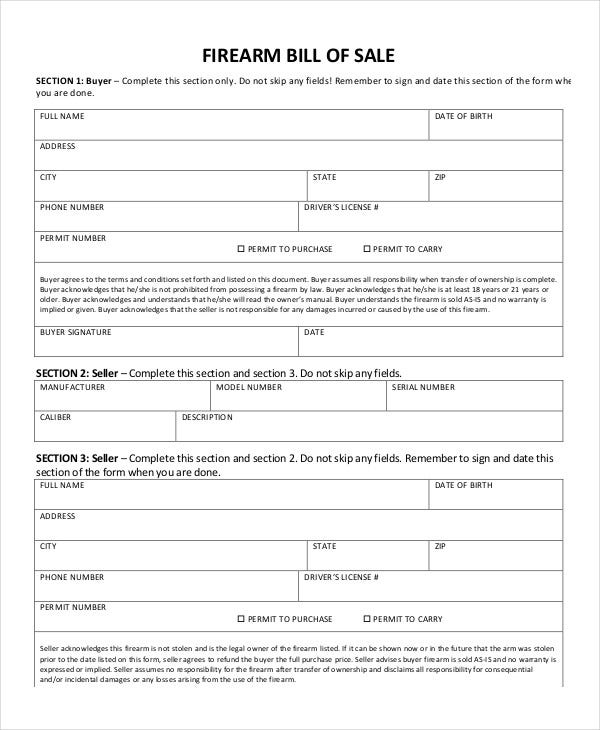 Firearms Bill Of Sale Form