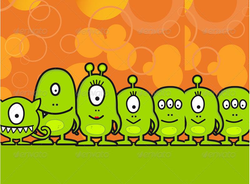 Funny Halloween Monster Family