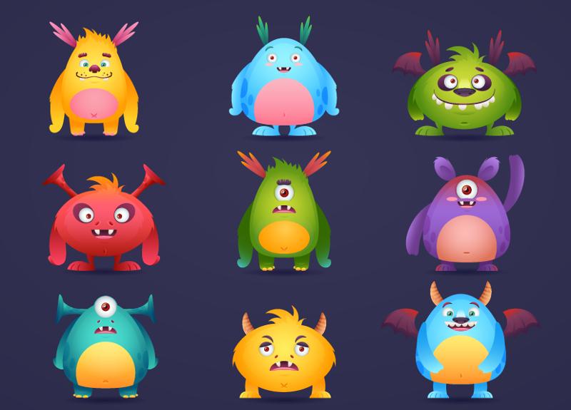 Funny Halloween Cartoon Monsters
